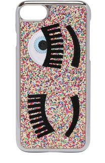 Чехол для iPhone 7 с глиттером и аппликацией Chiara Ferragni