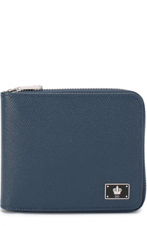Кожаное портмоне на молнии с отделениями для кредитных карт и монет Dolce & Gabbana