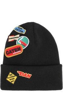 Шерстяная шапка с контрастными нашивками Dsquared2