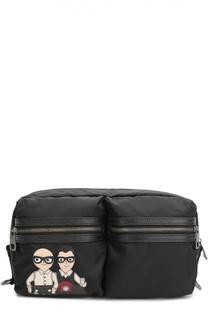 Поясная сумка Vulcano с аппликацией DG Family из натуральной кожи Dolce & Gabbana