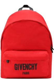 Текстильный рюкзак с контрастной отделкой и внешним карманом на молнии Givenchy