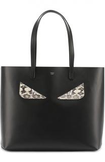 Сумка-шоппер с аппликацией Bag Bugs из кожи питона Fendi