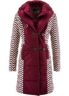 Стеганая куртка с принтом (кленово-красный/бежевая галька с узором) Bonprix
