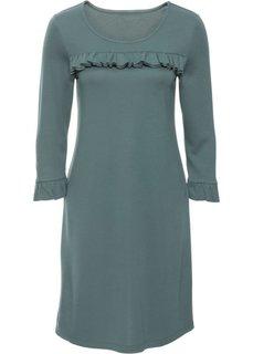 Обязательный атрибут гардероба: трикотажное платье с воланом (эвкалиптово-зеленый) Bonprix