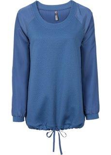 Футболка из объемной ткани с шифоновой вставкой (синий джинсовый) Bonprix