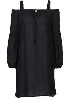 Платье с открытыми плечами (черный) Bonprix