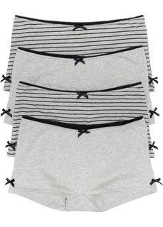 Трусики-френч (4 шт.) (черный/светло-серый меланж) Bonprix