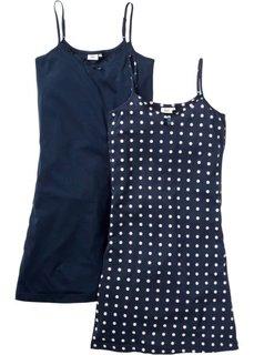 Ночная сорочка на бретелях-спагетти (2 шт.) (с принтом/синий) Bonprix