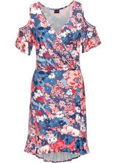 Трикотажное платье с воланами (индиго/коралловый в цветочек) Bonprix