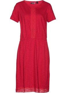 Платье с кружевной отделкой (красный) Bonprix