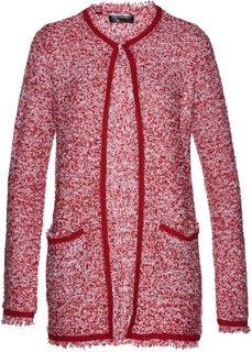 Вязаное пальто (темно-красный/белый) Bonprix