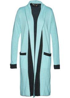 Вязаное пальто (пастельная аква/антрацитовый меланж) Bonprix