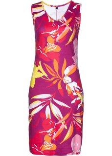 Трикотажное платье с принтом (фиолетовый/ярко-розовый с принтом) Bonprix