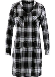 Клетчатое платье с длинным рукавом (черный/белый в клетку) Bonprix