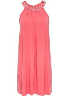 Трикотажное платье, отделанное стразами (нежный ярко-розовый) Bonprix