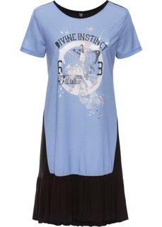 Трикотажное платье с воланами (нежно-голубой с рисунком) Bonprix
