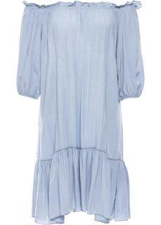 Платье с воланом (синий джинсовый) Bonprix