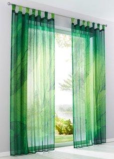 Гардина Листва (1 шт.), петли (зеленый) Bonprix