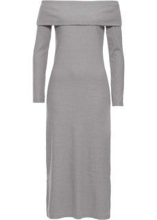 Платье с открытыми плечами (светло-серый) Bonprix