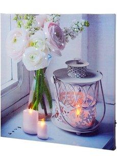 Светодиодная картина Свечи и сказочные цветы (белый) Bonprix