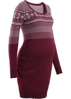Для будущих мам: вязаное платье с норвежским узором (бордовый/цвет белой шерсти с узором) Bonprix