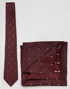 Галстук и платок-паше в горошек в комплекте ASOS - Красный