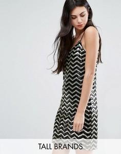 Платье мини с зигзагообразным узором и пайетками Vero Moda Tall - Мульти