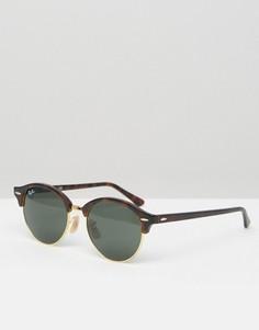 Солнцезащитные очки в круглой черепаховой оправе Ray-Ban 0RB4246 - Коричневый