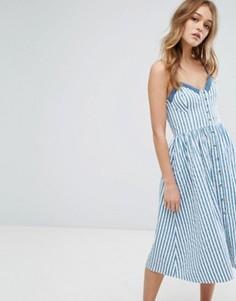 Платье в полоску на пуговицах Rollas - Синий