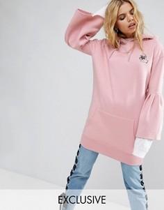 Свободный худи с широкими рукавами Mad But Magic - Розовый
