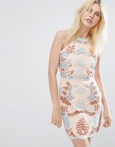 Кружевное платье с вырезом J.O.A - Розовый