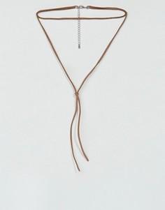 Коричневое ожерелье-чокер из искусственной замши ASOS - Рыжий