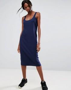 Платье-майка миди в рубчик с необработанными краями ASOS - Темно-синий