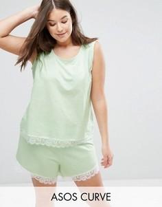 Пижамные майка и шорты с кружевной отделкой ASOS CURVE - Зеленый