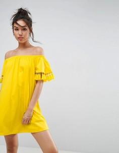 Сарафан с открытыми плечами и декоративными кисточками ASOS - Желтый