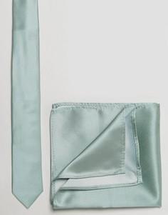 Галстук и платок для нагрудного кармана мятного цвета ASOS - Зеленый