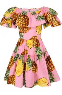 Приталенное мини-платье с оборками и ярким принтом Dolce & Gabbana