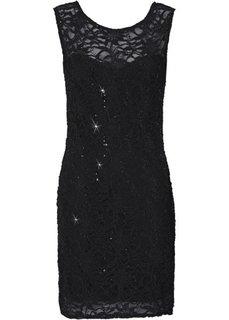 Кружевное платье на чехле (черный) Bonprix