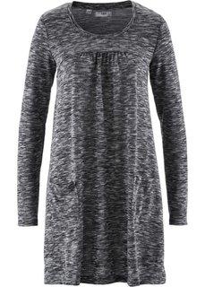 Трикотажное платье меланжевого дизайна с длинным рукавом (черный/белый меланж) Bonprix