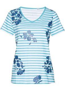 Удлиненная футболка (аква/синий джинсовый/белый) Bonprix