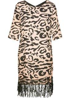 Платье (бежевый/черный с узором) Bonprix