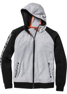 Функциональная трикотажная куртка Slim Fit (светло-серый меланж/черный) Bonprix