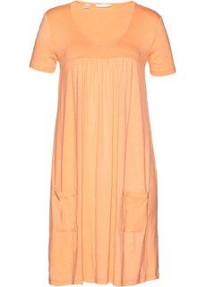 Трикотажное платье-блузон с коротким рукавом (абрикосовый) Bonprix