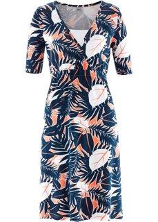 Платье с запахом и рукавом до локтя, 2 в 1 (темно-синий/лососевый с рисунком) Bonprix