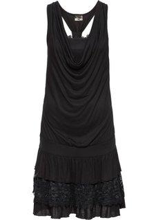 Трикотажное платье с декольте-водопадом (черный) Bonprix