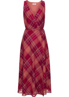 Платье с эффектом запаха и широкой юбкой (красный в клетку) Bonprix