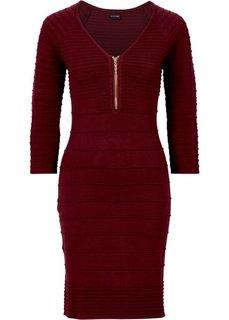 Вязаное платье с молнией в области выреза (кленово-красный) Bonprix