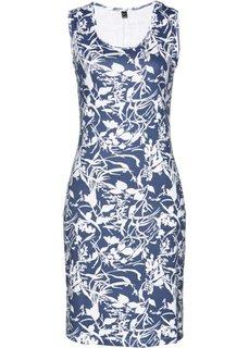 Трикотажное платье (темно-синий/белый с принтом) Bonprix