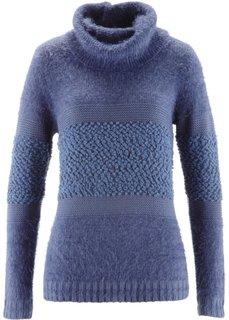Пуловер с высоким воротом (индиго) Bonprix