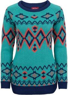 Узорчатый пуловер с длинным рукавом (зеленый океан с узором) Bonprix